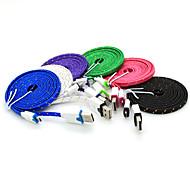 3m Flachgeflecht USB zum Mikro-USB-Ladegerät Sync-Daten-Ladekabel