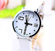 Women's Business Trend Round Dial PC Movement Leather Strap Fashion Quartz Watch (Assorted Colors)