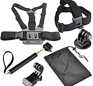 6 en 1 kit de accesorios con cinturón de pecho, cinta para la cabeza, monopie para GoPro héroe 4/3 + / 3/2/1 sj4000 / sj5000 / sj6000 /