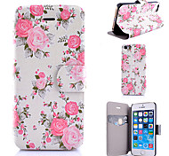 Pink Rose Pattern PU Leather Phone Case For iPhone 5C