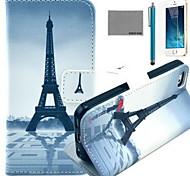 coco fun® rosso ombrello modello tower pu custodia in pelle con la protezione dello schermo e il cavo usb e lo stilo per iPhone 5 / 5s