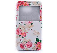 Para Samsung Galaxy Note con Soporte Funda Cuerpo Entero Funda Flor Cuero Sintético Samsung Note 5