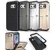 Pour Samsung Galaxy Coque Antichoc Avec Support Coque Coque Arrière Coque Armure Polycarbonate pour Samsung S6