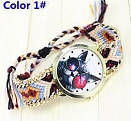 Watch Women's Bracelet Fabric owl Pattern Quartz Wrist Watch