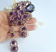 4.92 Inch Gold-tone Purple Rhinestone Crystal Flower Brooch Pendant Art Decorations