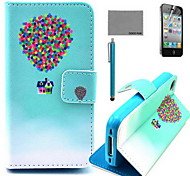 COCO FUN® Balloon Travel Pattern PU Leather Case with Screen Protector and USB Cable and Stylus for iPhone 4/4S