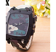 Herrenmode-Peeling-Quarz-analoge Stahl camouflage Gurt-Armbanduhr (farbig sortiert)