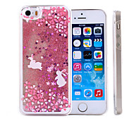 Rabbit Pattern Quicksand Transparent PC Material Phone Case for iPhone 5/5S