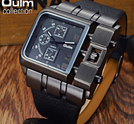 OULM® Men's Fashion Black Case Military Watch Square Dial Leather Strap