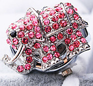 Women's New Exquisite Fashion Round Elephant Shape of Diamond Dial Steel Strap Quartz Ring Watch (Random Color)