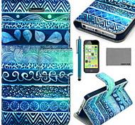 caso corpo Coco fun® círculo padrão tribal de couro pu completo com filme e cabo usb e stylus para iphone 5c