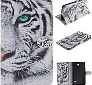 patrón de tigre blanco pu funda de piel de todo el cuerpo con la tarjeta para la lengüeta de Samsung 4 7.0 T230 / tab 3 Lite T110 / tab 3