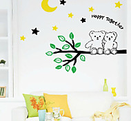 Multifunction DIY PVC Happy Together Two Bears Decorative Stickers