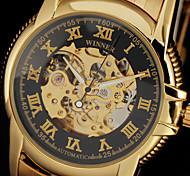 reloj de pulsera banda de acero de los hombres clásicos de auto-mecánica esqueleto caja de oro