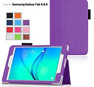 Для Кейс для  Samsung Galaxy со стендом / Флип Кейс для Чехол Кейс для Один цвет Искусственная кожа Samsung Tab A 9.7 / Tab A 8.0