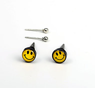 European  Fashion  Yellow Smiling Face Before And After  Asymmetric Stud Earrings Wedding/Party/Daily/Casual 4pcs