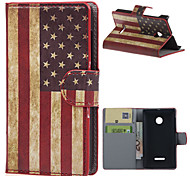Vintage American Flag  Wallet Leather With Card Slots Flip Cover Case For Microsoft  Nokia Lumia 435 Phone Bags Cases