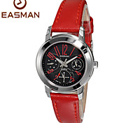 EASMAN Women's Sapphire Dial Shape Vintage Red Genuine Leather Multifunction Quartz Watch Wristwatch