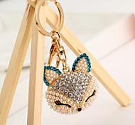 Cute Rhinestone Pearl Fox Keychain(Random Color)