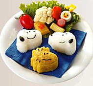 perro del dibujo animado de arroz forma sushi molde rodillo cortador de pastel de galleta (juego de 3)