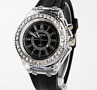 Frau-Uhr-Silikon bunte Lichter die Uhr