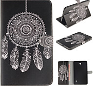 White Dreamcatcher Pattern PU Leather Full Body Case with Card for Samsung Galaxy Tab 4 8.0 T330/Tab A 8.0 T350 T351