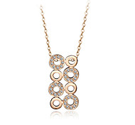 T&C Women's Retro Coins Style 18K Rose Gold Plated Clear Crystal Charm Happy Ferris Wheel Pendant Necklace