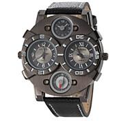 Herren-militärischen Design-Anzeige zweier Zeitlederband Quarz-Armbanduhr