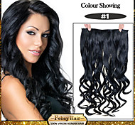 5 Clips Wavy Jet Black (#1) Synthetic Hair Clip In Hair Extensions For Ladies more colors available