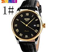relojes de los hombres del reloj de cuarzo correa de cuero genuino Skmei