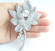 Wedding 4.13 Inch Silver-tone Clear Rhinestone Crystal Water Lily Bridal Brooch Bridal Bouquet