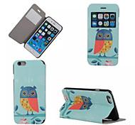 bonito padrão de águia caso de telefone janela de couro pu para iphone 6