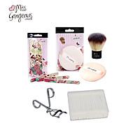 5pcs Women Makeup Set Powder Puff Cosmetic Puff Nail File Eyelash Curler Warped Cotton Swab Q-tip