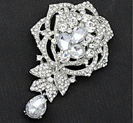 Silver Korea Style  Flower  Brooch With Diamond