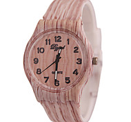Women's Display Through Simulation Of Wood Grain Silicone Quartz Watch Fashion(Assorted Colors)