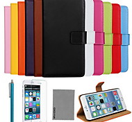 Ultra Slim Solid Color Genuine Leather Case with Film,Cable and Stylus for iPhone 6 Plus 5.5