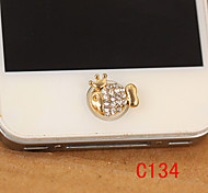 Crown Fish Zircon Home Button Sticker for iPhone