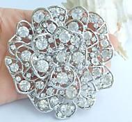 Wedding 3.15 Inch Silver-tone Clear Rhinestone Crystal Flower Bridal Brooch Pendant