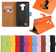 LG G4 Plastic / Genuine Leather Full Body Cases / Cases with Stand Solid Color case cover