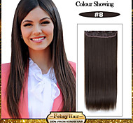 5 Clips Long Straight Chestnut Brown (#8) Synthetic Hair Clip In Hair Extensions For Ladies