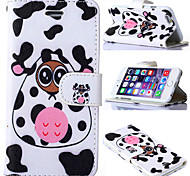 Milk Cow Pattern with Card Bag Full Body PU Leather Case for iPhone 6