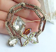 2.17 Inch Gold-tone Topaz Rhinestone Crystal Spiderweb Flower Brooch Pendant Art Decorations