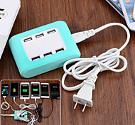 TYD-531 6-Port USB Charger for Android / iOS Devices - Green + White (US Plug)