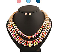 Classic Party Metal Necklace(Includes Necklace & Earrings) Jewelry Set(1 pc)(Pink,Blue)