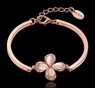 For Women Fashion High Quality Handwork Elegant Bracelet Strand Bracelets Rose Gold flower Decorations Opal Bracelet