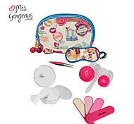6in1 Makeup Tools Cosmetic Bag Powder Puff Eyelash Curler Eye Mask Eyebrow Tweezer Bottle Nail File