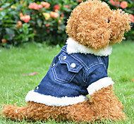 Dark Blue CowBoy Cotton Single Layer Clothes Coat for Dog
