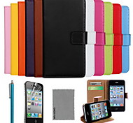 coco fun® luxe Ultral slanke effen kleur lederen case met een screen protector, kabel en stylus voor de iPhone 4 / 4s