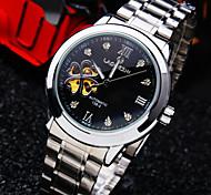 tondo roma numero diamante minerale quadrante specchio di vetro bracciale in acciaio vita moda impermeabile orologio meccanico da uomo