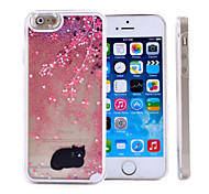 black cat pattern Treibsand transparenten PC-Material Telefonkasten für iphone 6